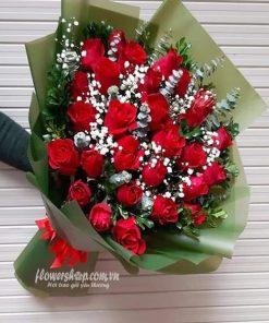 bó hoa hồng đỏ 30 bông, baby