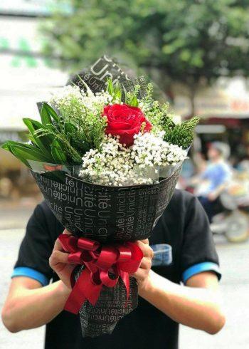 bó hoa hồng 1 bông, baby