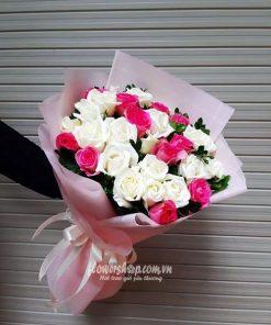 bó hoa hồng trắng, hồng cánh sen