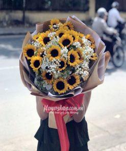 bó hoa hướng dương và tú cầu