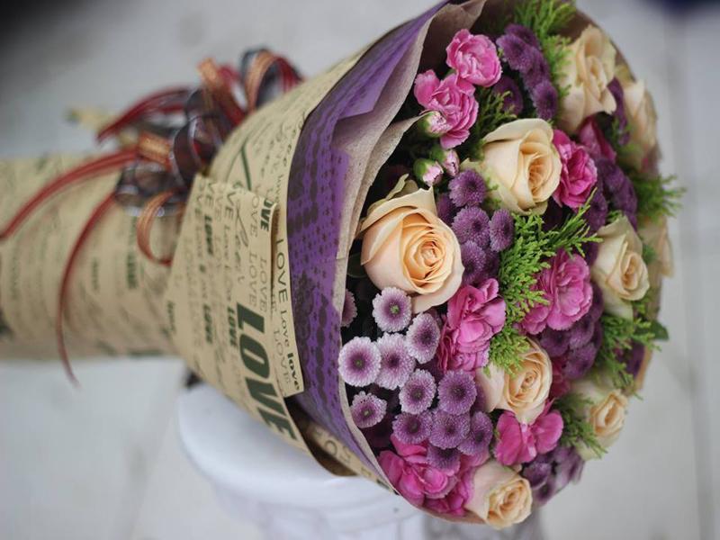 Bó Hoa Tặng Sinh Nhật Cho Khách Tại Shop Hoa Tươi Gò Dầu ( Mẫu Hoa Phải Đặt Trước 24h)